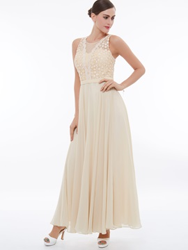 Elegant A-Line Scoop Lace Ankle-Length Evening Dress