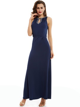 Pretty Jewel Sheath Beading Split-Front Long Evening Dress