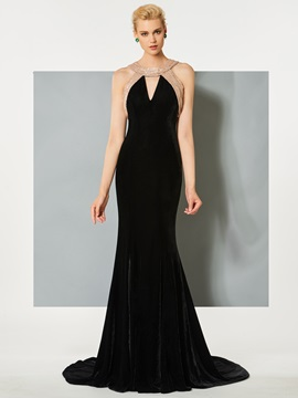 Velvet Scoop Mermaid Hollow Floor-Length Evening Dress