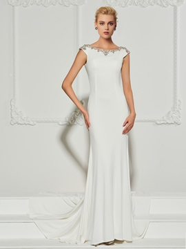 Chic Mermaid Bateau Beading Cap Sleeves Sweep Train Evening Dress