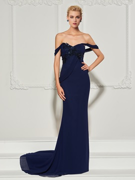 Appliques Off-the-Shoulder Sheath Evening Dress