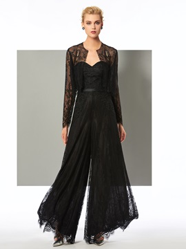 Appliques Long Sleeves Lace Sheath Evening Jumpsuits