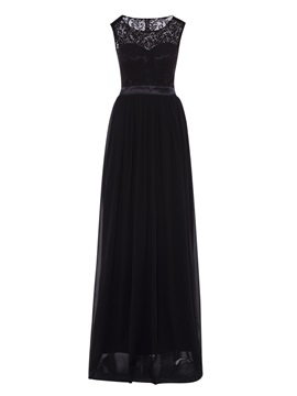 Scoop Neck Backless A Line Lace Evening Dress