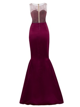 Scoop Long Beaded Mermaid Evening Dress