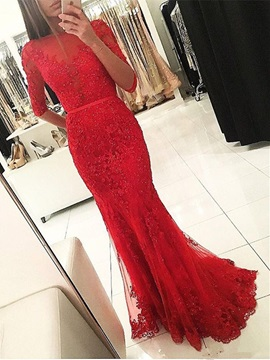 Beading Mermaid Appliques Half Sleeves Evening Dress