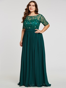 Scoop Neck Beaded A Line Plus Size Evening Dress