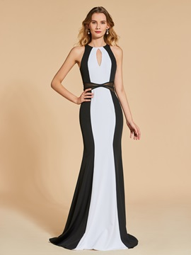 Jewel Scoop Sheath Black and White Evening Dress