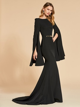 Bateau Mermaid Long Sleeves Trumpet Evening Dress