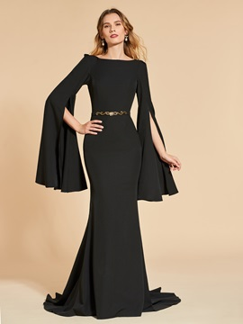 Bateau Neck Beading Mermaid Long Sleeves Evening Dress