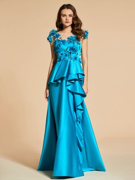 Flowers A-Line Beading Button Scoop Evening Dress