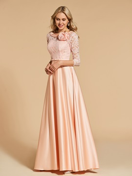 Bowknot 3/4 Length Sleeves Lace Evening Dress