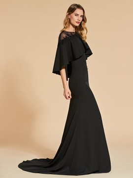 Bateau A-Line Button Lace Beading Evening Dress