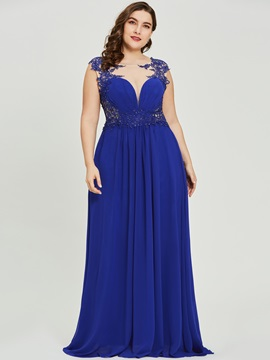 Scoop Pleats Appliques A-Line Evening Dress
