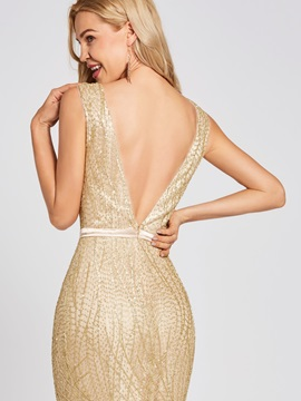 Scoop Neck Backless Gilding Mermaid Evening Dress