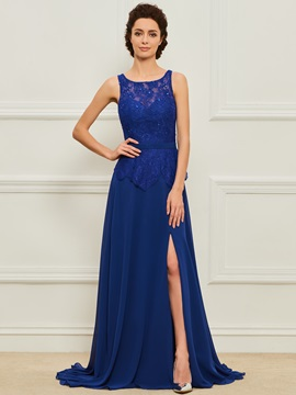 Sheath Scoop Lace Split-Front Evening Dress