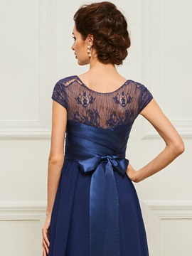 Bow A-Line Scoop Lace Evening Dress