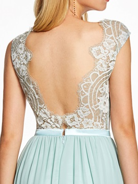 Straps Backless Lace A Line Evening Dress