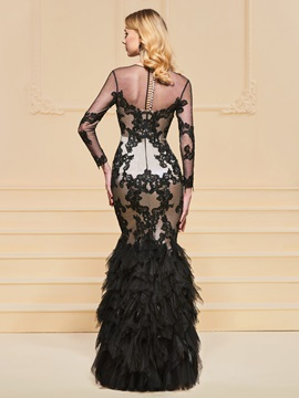 Trumpet Lace Floor-Length Scoop Evening Dress