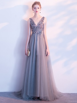 A-Line Beading Backless Crystal Evening Dress