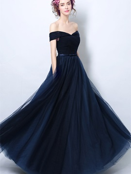A-Line Sashes Pleats Off-the-Shoulder Evening Dress