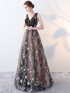 A-Line V-Neck Lace Embroidery Evening Dress