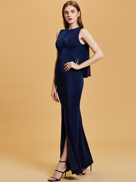 Scoop Neck Split-Front Mermaid Evening Dress