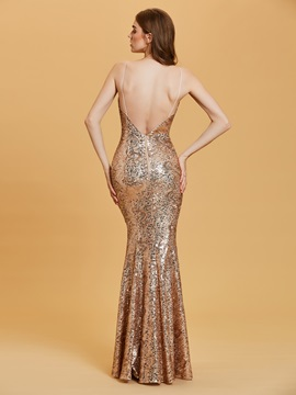 Spaghetti Straps Backless Mermaid Evening Dress