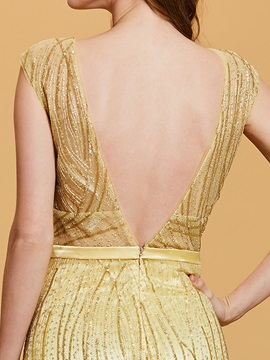 Scoop Neck Backless Gilding A Line Evening Dress