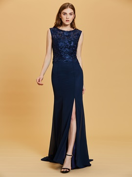 Scoop Neck Lace Appliques Split-Front A Line Evening Dress