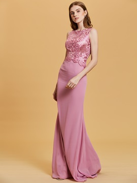 Scoop Neck Lace Appliques A-Line Evening Dress
