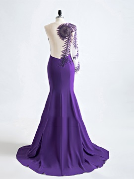 Trumpet Jewel Appliques Pearl Evening Dress