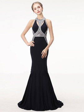 Beading Rhinestone Jewel Embroidery Evening Dress