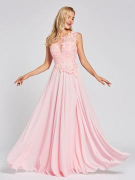Scoop Lace Appliques A-Line Long Evening Dress