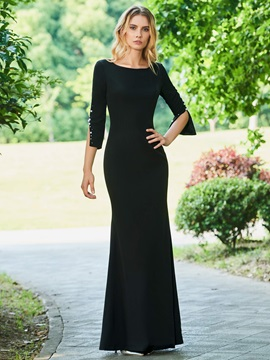 Split-Front Sheath Evening Dress with Sleeves