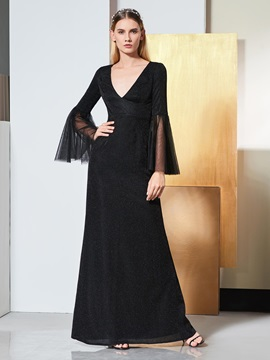A-Line V-Neck Finished Fabric Evening Dress