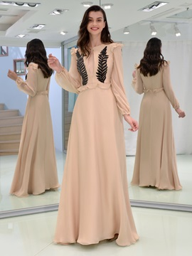Sequins Appliques Hollow Ruffles Long Sleeves Evening Dress