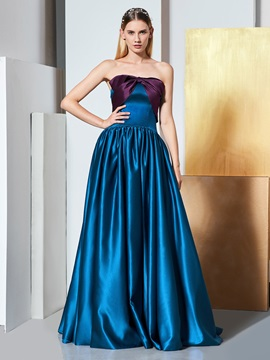 A-Line Strapless Bowknot Evening Dress