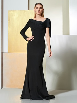 Trumpet V-Neck Ruffles Evening Dress