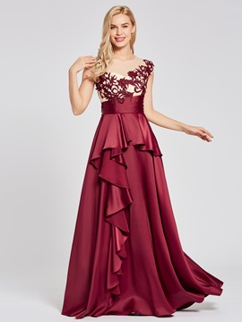 Scoop Neck Appliques Ruffles A Line Evening Dress