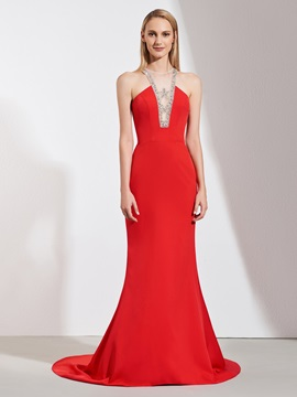 Trumpet Scoop Beaded Evening Dress