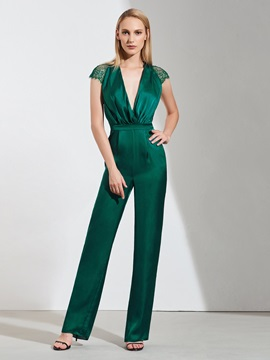 Sheath V-Neck Cap Sleeves Lace Evening Jumpsuits