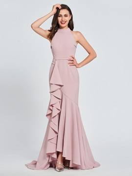 Trumpet High Neck Ruffles Evening Dress 2019