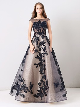 A-Line Appliques Lace Beteau Long Evening Dress 2019