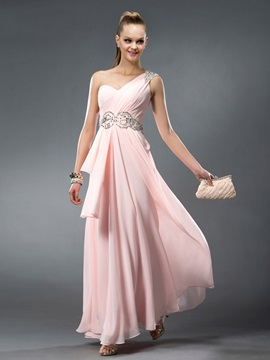 Enchanting Crystal One-Shoulder Floor-Length Beading Ruffles A-Line Prom Dress