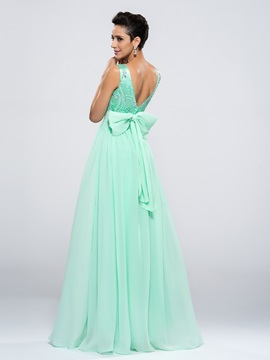 Popular A-Line Bateau Neck Bowknot Beading Long Prom Dress