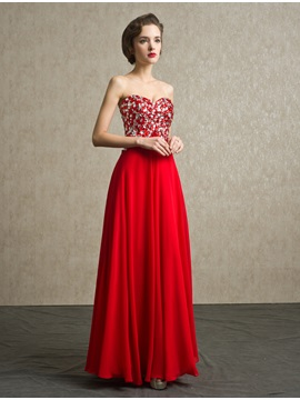 Modern Sweetheart Beading A-Line Lace-up Long Prom Dress