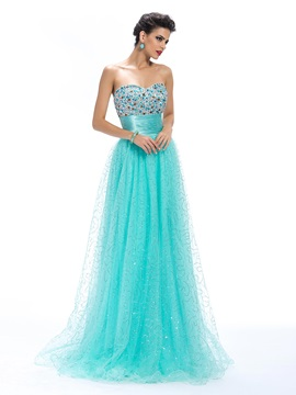 A-Line Sweetheart Beading Empire Waistline Floor-Length Prom Dress