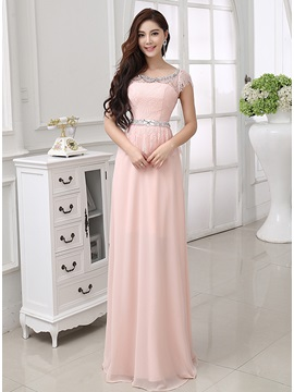 A-Line Scoop Neckline Lace Beading Short Sleeves Long Prom Dress