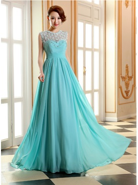 Jewel Neck Lace Beading A-Line Long Prom Dress