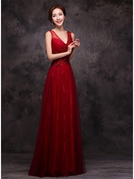 Wonderful V-Neck Lace Appliques Sequins Long Prom Dress